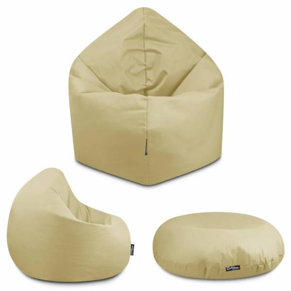 Sitzsack 2in1 - Beige, 100 cm Durchmesser ca