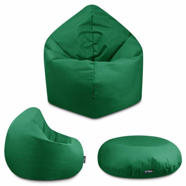 Sitzsack 2in1 - Dunkelgrün, 100 cm Durchmesser ca