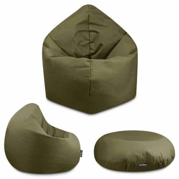 Sitzsack 2in1 - Khaki, 100 cm Durchmesser ca